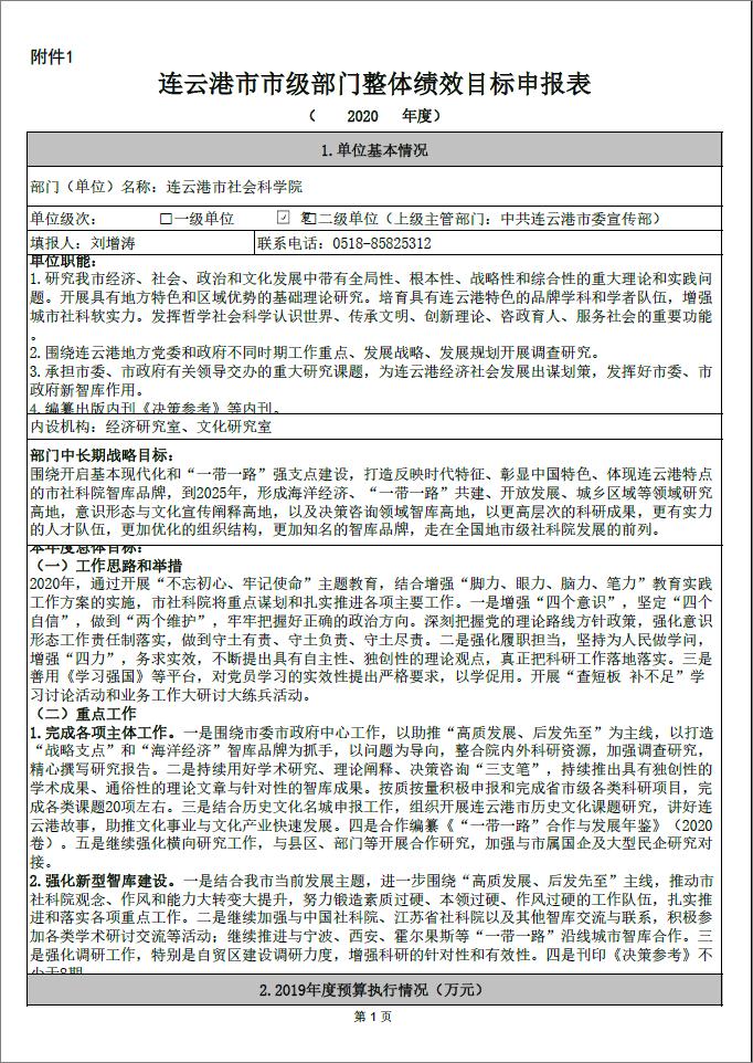 连云港市市级部门整体绩效目标申报表(市社科院)